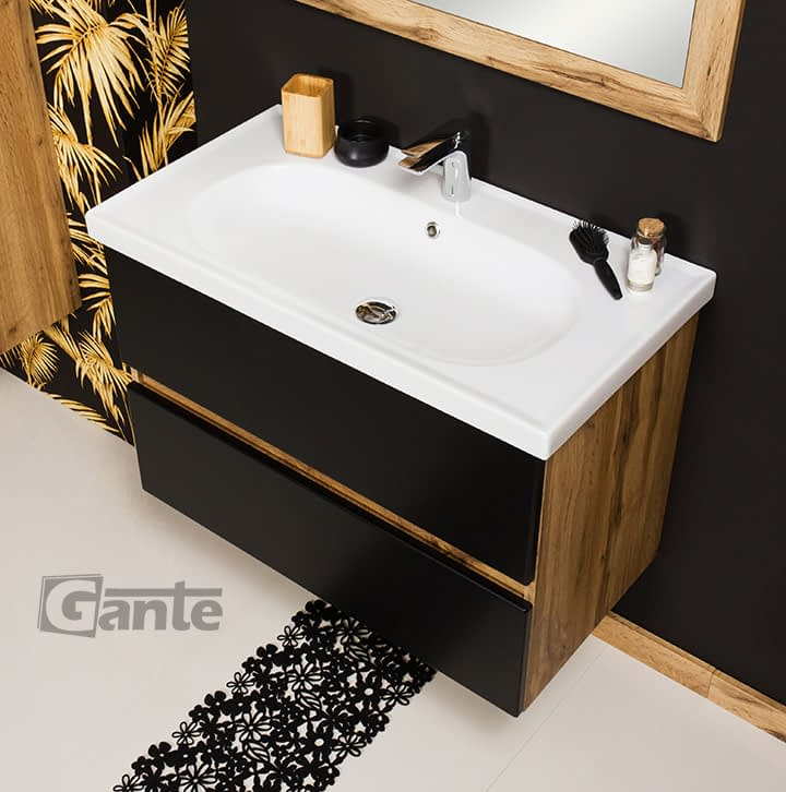 80 cm vanity unit black/oak ireland