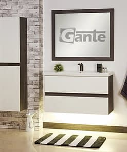 100 cm vanity unit white and grey