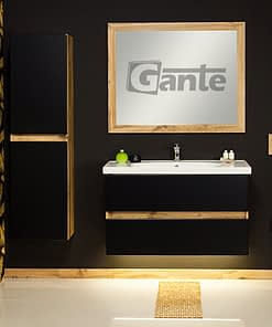 100 cm black/oak vanity unit