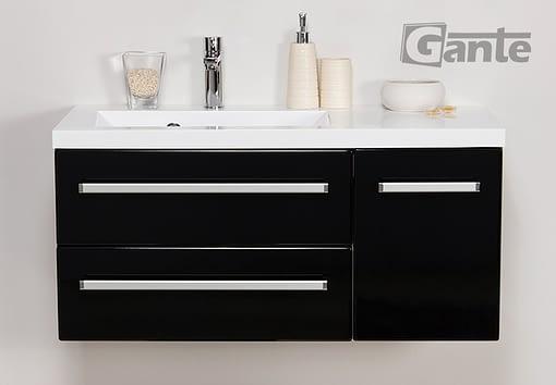 90 black vanity unit
