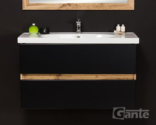 100 cm black/oak vanity unit