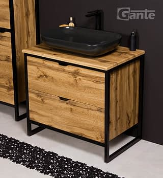 Vanity Unit New York 80cm Basin Premium Black Bathroomfurniture