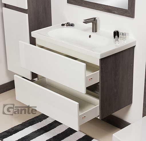 80cm vanity unit white/grey with LED
