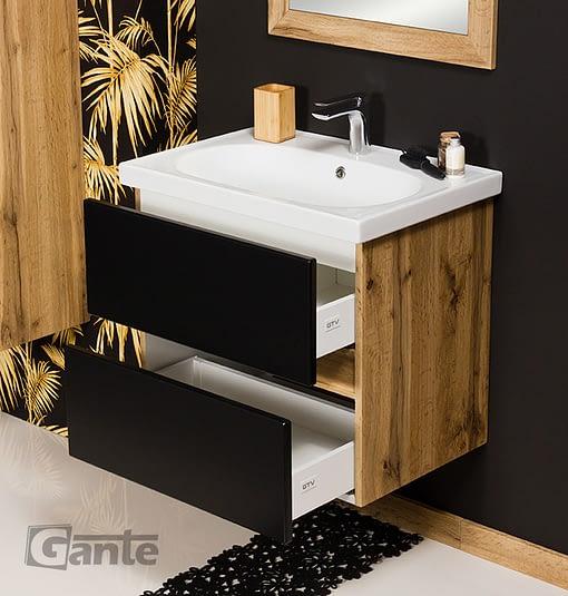60cm black/oak vanity unit ireland