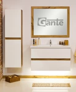100cm white oak vanity unit