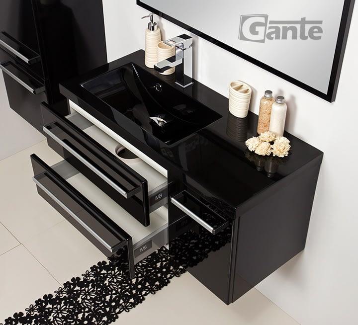 90 black vanity unit with black sink