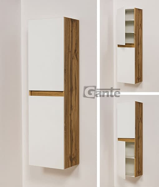 tall storage unit white/oak
